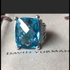 David Y 20x15mm Blue Topaz Diamond Ring Sz 7